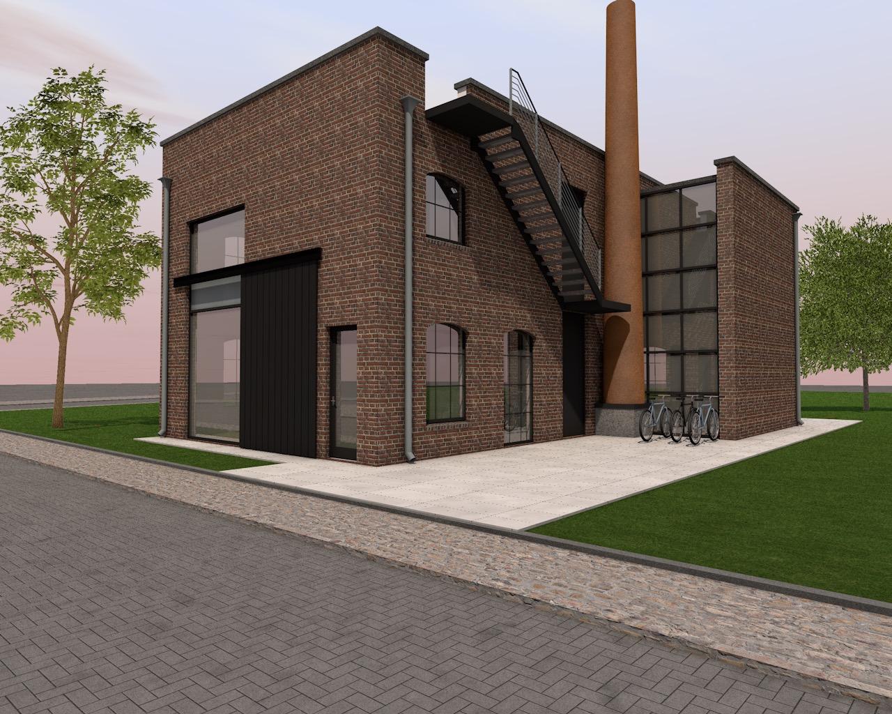 n plan Boddenkamp te Enschede hebben we een pakhuis woning ontworpen welke herinnert aan de plaatselijke industriële bouw